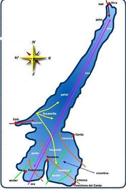 Mappa dei venti del Garda